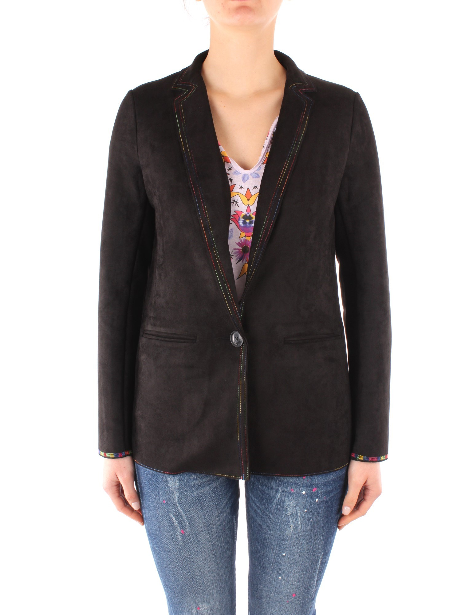 Desigual Clothing Woman Blazer BLACK 20SWEWAM